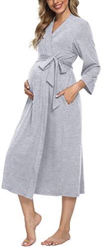 Xpenyo Women s Maternity Sleepwear Robes Long Bathrobe Pregnancy Loungewear Labor Delivery Nursing product image