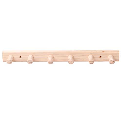 LouMaxx Hakenleiste Holz aus Kiefer mit 6 Holzhaken – Wandgarderobe Holz - Garderobe Kinder - Garderobe Holz - Kleiderhaken Holz zur Wandbefestigung aus Nicht behandeltem Kiefernholz