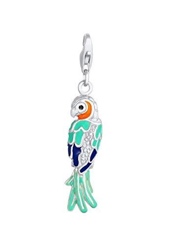 Papagei Charm Anhänger 925 Sterling Silber für Damen und Mädchen, Vogel Motiv mit farbigen Glas Kristalle und Emaille, Charms passend für alle gängigen Charmträger und Bettelarmband