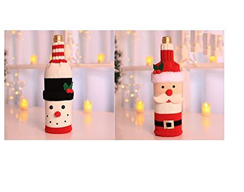 2 bolsas de cubierta de botella de Navidad de punto suéteres de vino vestido con sombrero, suéter hecho a mano de botella de vino para decoraciones de Navidad