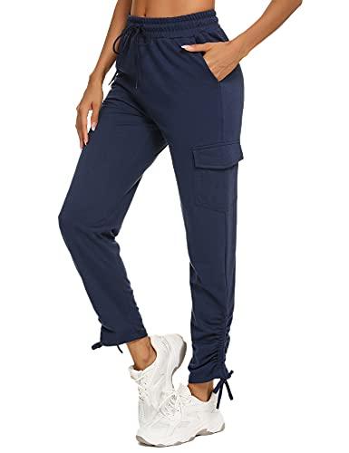 Wayleb Damen Jogginghose Frauen Sport Hose Bequemes Fitnesshose Trainingshose mit Taschen Atmungsaktiv Lange Hosen für Sport Laufen Yoga Jogging
