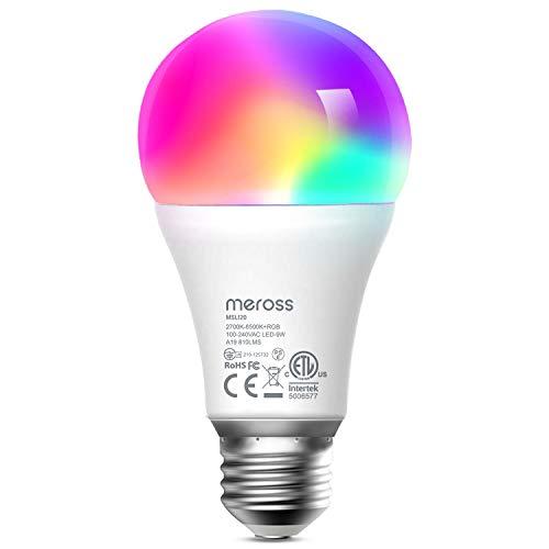 Meross Bombilla LED Multicolor, Inteligente, WiFi, Regulable, Mando a distancia, 9W E27, 2700-6500 K, Compatible con Alexa, Google Home e IFTTT. MSL120B