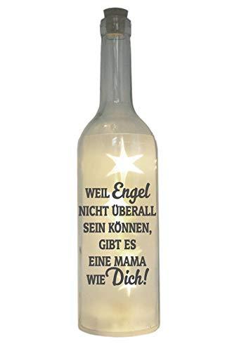 WB wohn trends LED-Flasche mit Motiv, Mama - Weil Engel Nicht überall Sein können gibt es eine Mama wie Dich, grau, 29cm, Flaschen-Licht Lampe mit Text Spruch
