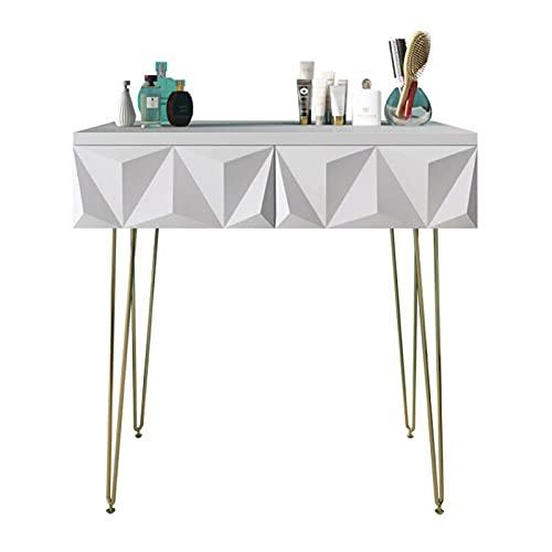 Tocador Mesas de preparación de maquillaje con cajones para espacio pequeño, dormitorio, escritorio de cómoda para mujeres, escritorio multifunción (blanco) Tocador Mesa ( Size : 60CM )