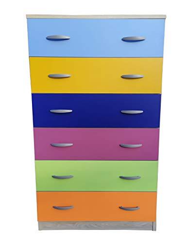 Cassettiera SETTIMINO a 6 cassetti camera da letto ufficio (Multicolor)