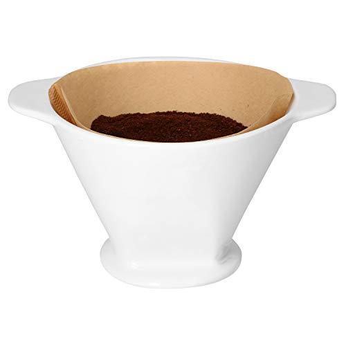 Kaffeefilter MMMCoffee aus weißer Keramik I 18,5 x 15 x 11 cm | SoftBrew-Verfahren I schonende Zubereitung von Tee & Kaffee | manuelles Filter-Gerät