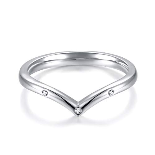 Qings Woman Thumb Stack Rings - V Thumb Ring 925 Sterling Silver Chevron Wedding Band Ring, Princess Wishbone Ring Wedding Engagement Jewelry Gift for Woman Girls, Faith Hope Love Silver Rigb