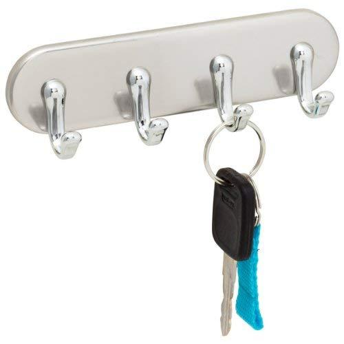 InterDesign York Magnetic Key Rack Organizer for Home & Kitchen - 4 Hook, Brushed Stainless Steel/Chrome