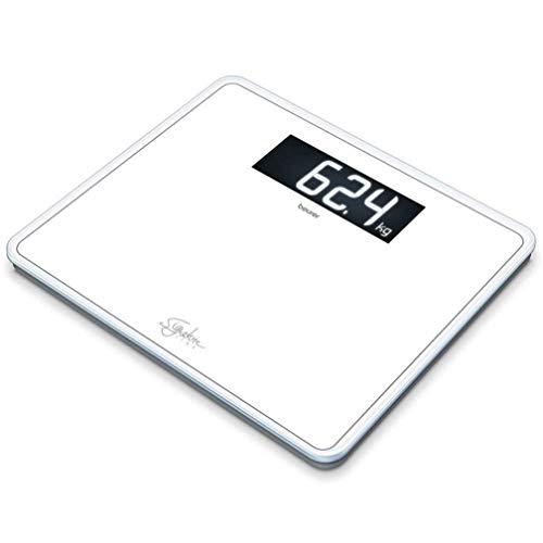 Beurer GS410 Báscula Digital De Vidrio, Gran Capacidad 200Kg, Pantalla LCD Retroiluminada, Grandes Dígitos 4.9 cm, Vidrio Seguridad 0.8 cm, Color Blanco