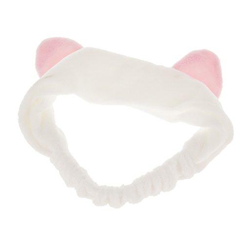 Haarband Stirnband Haarbänder Haarschmuck Haarreifen mit Katze-Ohr für Gesichtswäsche Make up - Weiß