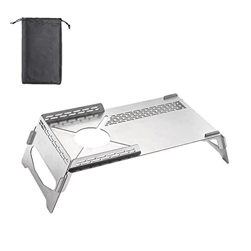 Fencelly Soporte de estufa de gas de mesa, portátil, estufa de camping con protección térmica plegable de mesa quemadores de gas accesorios