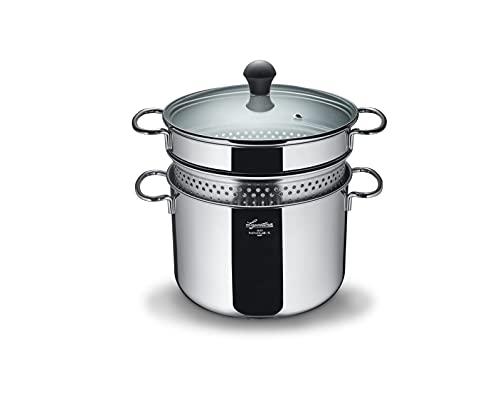 Lagostina Pastera, acero inoxidable 18/10, capacidad 5 litros, diámetro 22 cm, plata