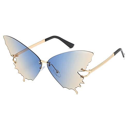 SXRAI Gafas de Sol sin Montura Gafas de Sol de Gran tamaño para Mujer Gafas de Sol de Moda con Degradado Glsses,C4