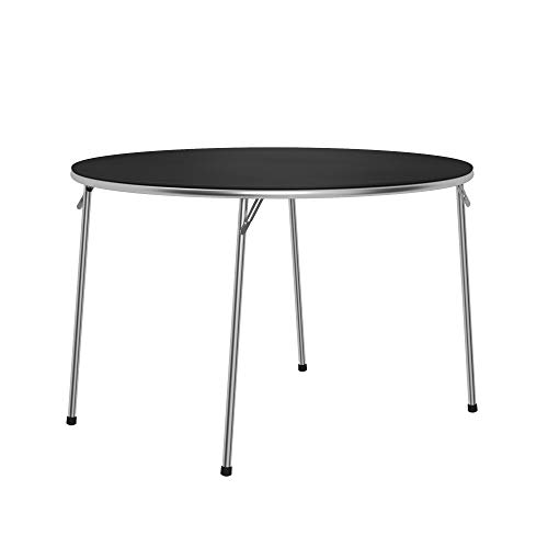 COSCO Stylaire Folding Table, 44' Round, Black & Chrome