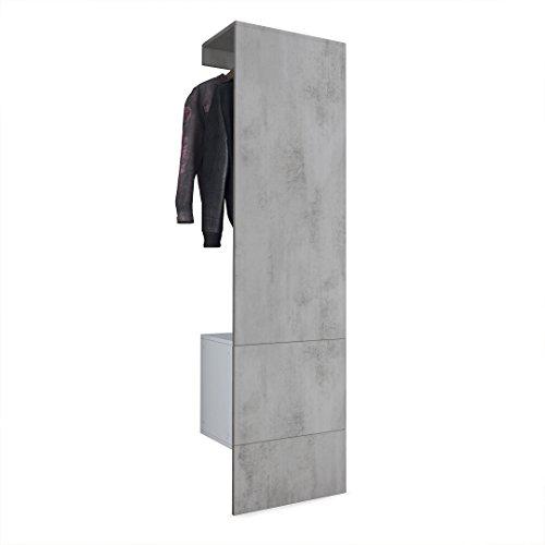 Vladon Garderobe Wandgarderobe Carlton Set 5, Korpus in Weiß matt/Paneel in Beton Oxid Optik