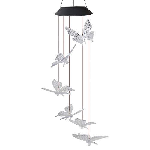 Meijin Lámpara solar LED con diseño de carillón de viento para decoración de jardín (color: transparente)