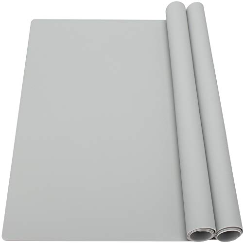 Oversize Silicone Mat - 27.6 x 19.7 inch, Gartful Countertop Protection Mat, Silicone Crafts Sheet for Paint, Epoxy, Resin Arts, Jewelry Casting Molds, Nonslip Nonstick Heat-Resistant, Light Gray, Set of 2