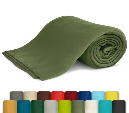 KiGATEX Polar-Fleecedecke in vielen Farben 130x160 cm leicht zu pflegen für Innen oder Außen (Oliv)