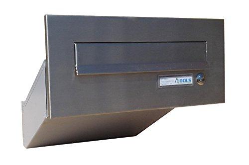 D-042 Edelstahl Mauerdurchwurf Briefkasten mit Klingel (Tiefe: 35-50 cm) - LETTERBOX24.de