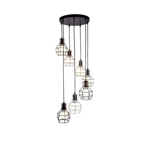 TJLSS 7-Light Luci del Pendente Industriale Isola della Cucina Illuminazione Rustico Filo Caged Hanging Lampade