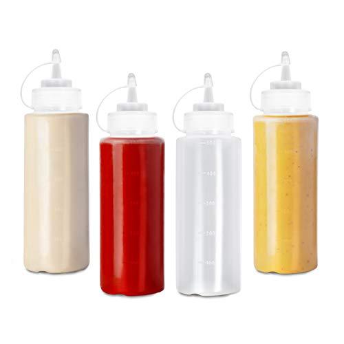 4 (Grande 500ml) Biberon Salsas con Tapas de Rosca| Dispensador de Botellas de Plástico para Condimentos Ketchup Mostaza Vinagre Salsa Aceite| a Prueba de Fugas, Resistente y Sin BPA.