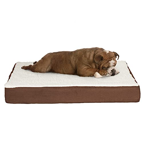 Petmaker Orthopedic Sherpa Top Pet Bed with Memory Foam and Removable Cover, Brown, 30 x 20.5 x 4