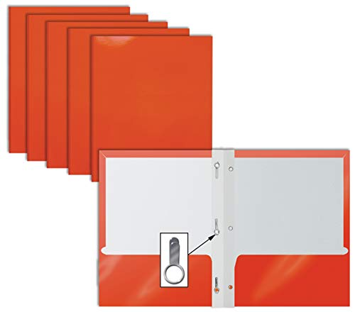 2 Pocket Glossy Orange Paper Folders with Prongs, 25 Pack, by Better Office Products, Letter Size, High Gloss Orange Paper Portfolios with 3 Metal Prong Fasteners, Box of 25, Orange