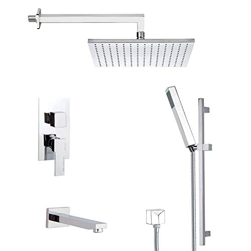 Buy Remer TSR9509-14 Contemporary Tub and Shower Faucet with Sliding Rail, Matte White