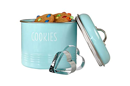 Tin Cookie Snack Jars Airtight Kitchen Food Storage Containers (Mint)