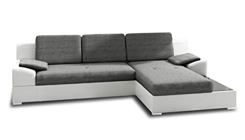 Ecksofa Aldo mit Glasregal, Couchgarnitur mit Bettfunktion und Bettkasten, Sofagarnitur, Couch mit Schlaffunktion, Big Sofa (Weiß + Grau (Soft 017 + Inari 91), Ecksofa Rechts)