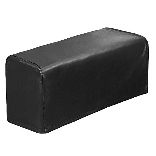Delisouls Sessel Arm Abdeckungen, 2 Teile PU Leder Sofa Armlehne Abdeckungen, Protektoren Stretchy Wasserfest Möbel Schutz für Sofa Stuhl Arm - Schwarz