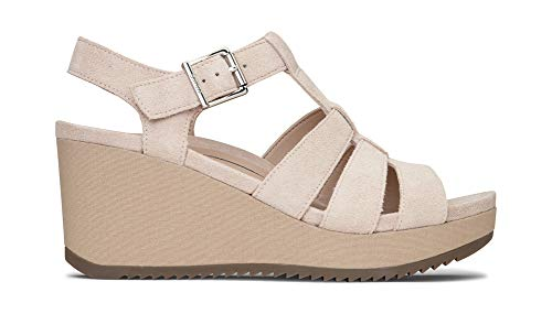 Vionic Women's Hoola Tawny T-Strap Wedge - Ladies Platform Sandal with Concealed Orthotic Arch Support Nude Suede 5 M US