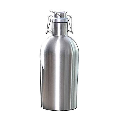 Insmartq Flagon - Botellas de cerveza, seguras, con tapa basculante de acero inoxidable, 2 L, gran capacidad, para el cultivo de cerveza, para exteriores