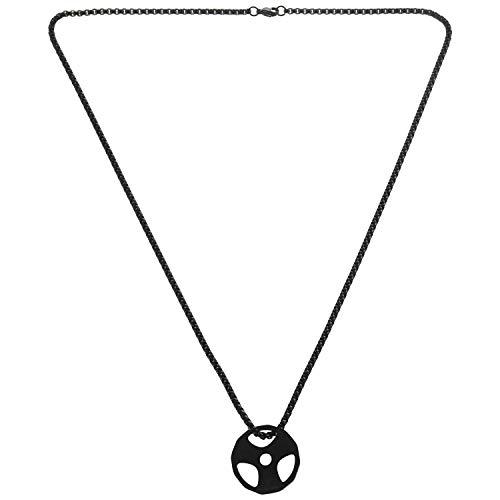 Gesh Collar de acero para fitness con colgante de placa de peso, color negro, mancuerna para levantamiento de pesas, levantamiento de pesas
