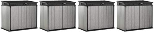 KETER Elite Store 4.6 x 2.7 Foot Resin Outdoor Storage Shed with Easy Lift Hinges, Perfect for Trash Cans, Yard Tools, and Pool Toys, ft, Grey & Black (Fоur Paсk)