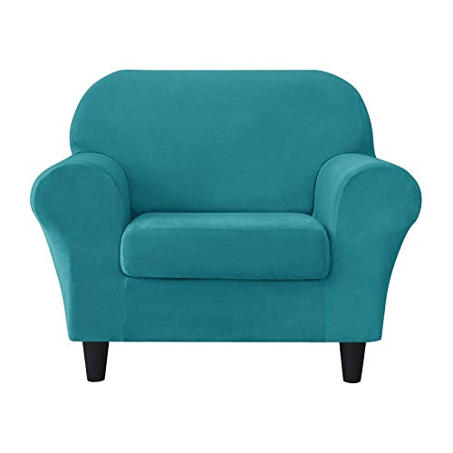 HUANXA Terciopelo Elástica Funda De Sofá, 1 Plazas Suave Funda para Sofá Funda para Cojín Antideslizante Cómodo Funda Cubre Sofá Protector De Muebles Funda Cubre Sofá-11#Azul Turquesa