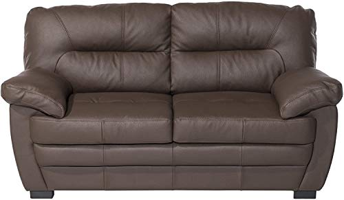 Mivano 2er-Sofa Royale / Zeitloses, bequemes Ledersofa mit hoher Rückenlehne / 160 x 86 x 90 / Lederimitat, Braun