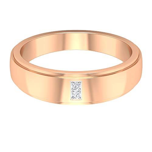 Banda de boda para hombre, anillo de compromiso de diamantes HI-SI, anillo de declaración de los hombres, anillo de novio, regalo de aniversario para él, 10K Oro rosa, Size:EU 68