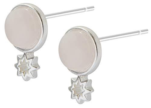 Sence Copenhagen K933 - Orecchini da donna in argento con quarzo rosa a forma di stella, Secret Garden 2019, serie Venus Earstuds
