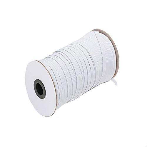 White 100-Yards Length 1/8 Inch Width Elastic Cord/Elastic Band/Elastic Rope/Stretch Knit Elastic Spool for Crafts DIY,Masks and Cuff