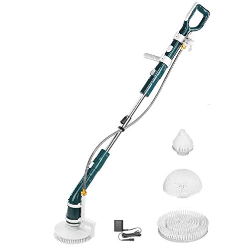 Homitt Power Spin Scrubber Electric Floor Scrubber, Super Powerful Cleaning Brush with Waterpipe, 2 Adjustable Speed and 3 Replaceable Brush Heads for Kitchen, Bathroom, Patio, Courtyard, Pool