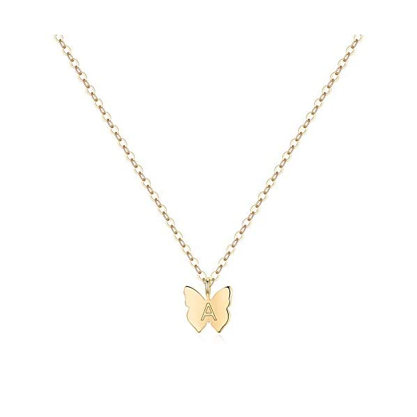 Turandoss Initial Butterfly Necklaces for Girls – Dainty 14K Gold Filled Handmade Personalized Letter Butterfly Choker Necklaces for Women Girls Jewelry Gifts