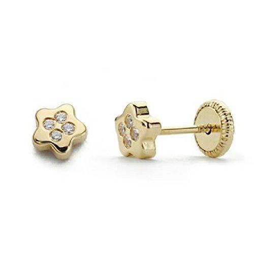 Orecchini da bambino/ragazza, in oro 18 carati, con stella e zirconi, dimensioni 5 mm