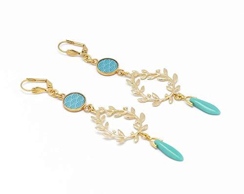 SEIGAIHA pendientes de oro Japón turquesa o coral laurel Japón regalos personalizados navidad cumpleaños joyería boda ceremonia novia dama de honor invitados día de la madre