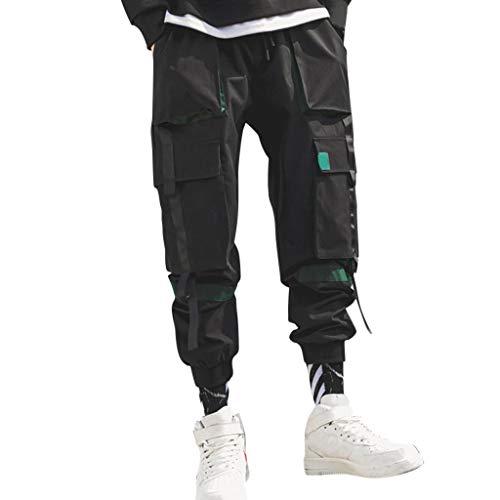 IFOUNDYOU Cargo Hosen Herren Neu Cargohosen Männer Junge Slim Fit Sport Outdoors Freizeit Retro Mode Trend Arbeithosen mit Gummibund Streetwear Jogginghose mit Reißverschluss Große Größen