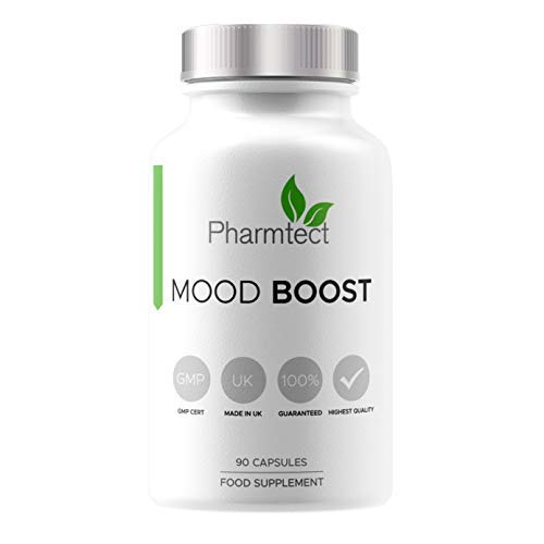 Pharmtect Mood Boost Supplement - Brain Boost High Strength Pure Vitamin B Complex for Balance & Wellbeing - L-Trytophan, Camomile Flower Extract, Vitamin B3,Vitamin D3-90 Vegetarian Capsules
