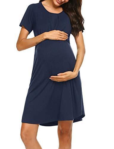 Ekouaer Womens Sleepwear Maternity Nursing Dress Delivery/Labor/Pregnancy Soft Breastfeeding Dress with Shirttail Hem(Navy,Medium)