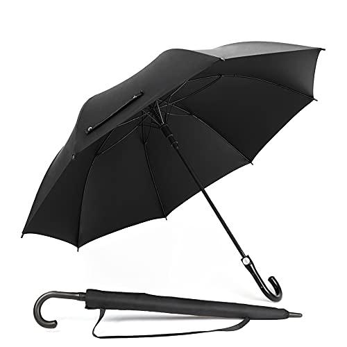 LDhome 傘 長傘 紳士傘 メンズ ワンタッチ 丈夫 撥水 強風 遮光 210T高強度グラスファイバー 梅雨対策 晴雨兼用 大きい 140cm 収納袋付き ブラック