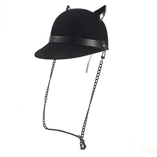 Sombrero del Jinete De La Gorrita Negro Sombrero Gorro Tejida con Especial Estilo Diablo Gato Lindo Sombrero De Oreja Sombrero De Kawaii Sombrero De Mujer Gorras (Color : Negro, Size : 56-58CM)