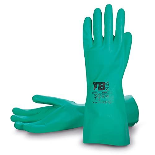 TB Guante de Nitrilo Verde TB 9009F   Guante para Trabajo Resistente y con Tratamiento Bactericida. Exterior en Nitrilo e Interior Flocado en Algodón. Color Verde - Paquete 10 Pares - Talla M
